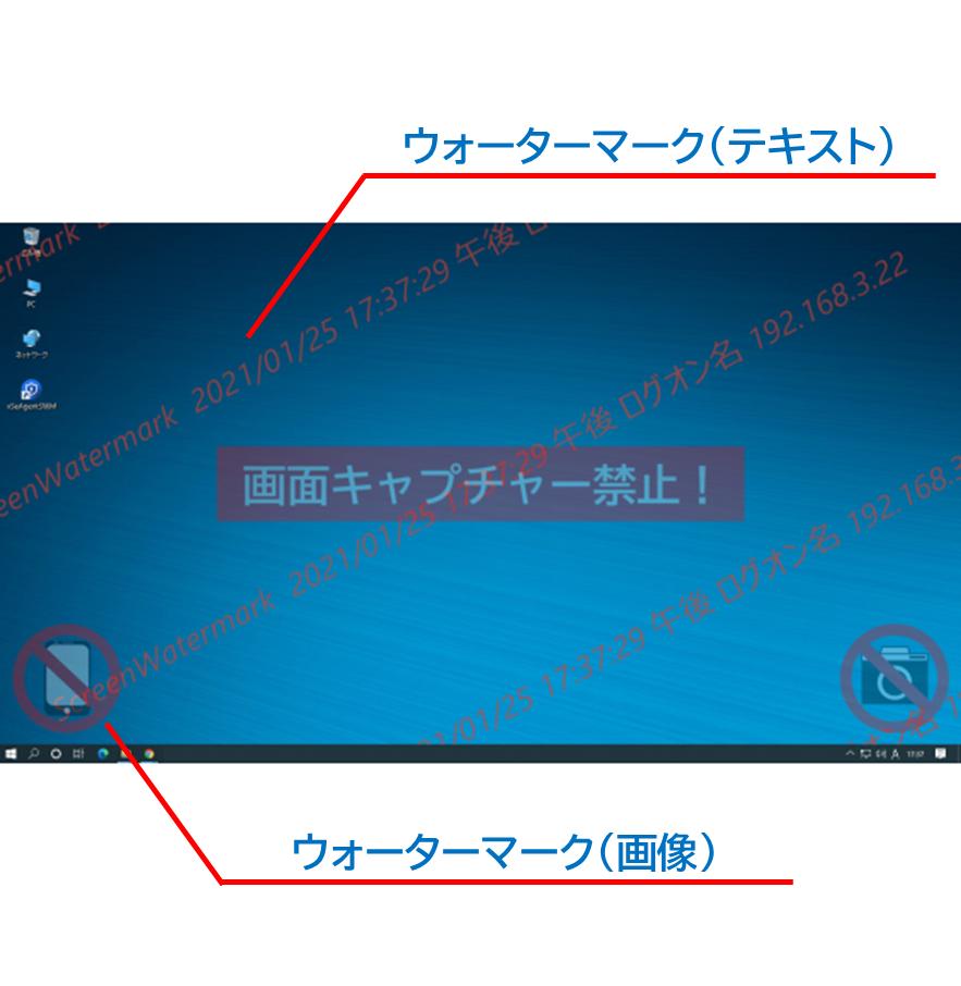 スクリーンウォーターマークでウォーターマーク(電子透かし文字)を表示させたデスクトップ画像