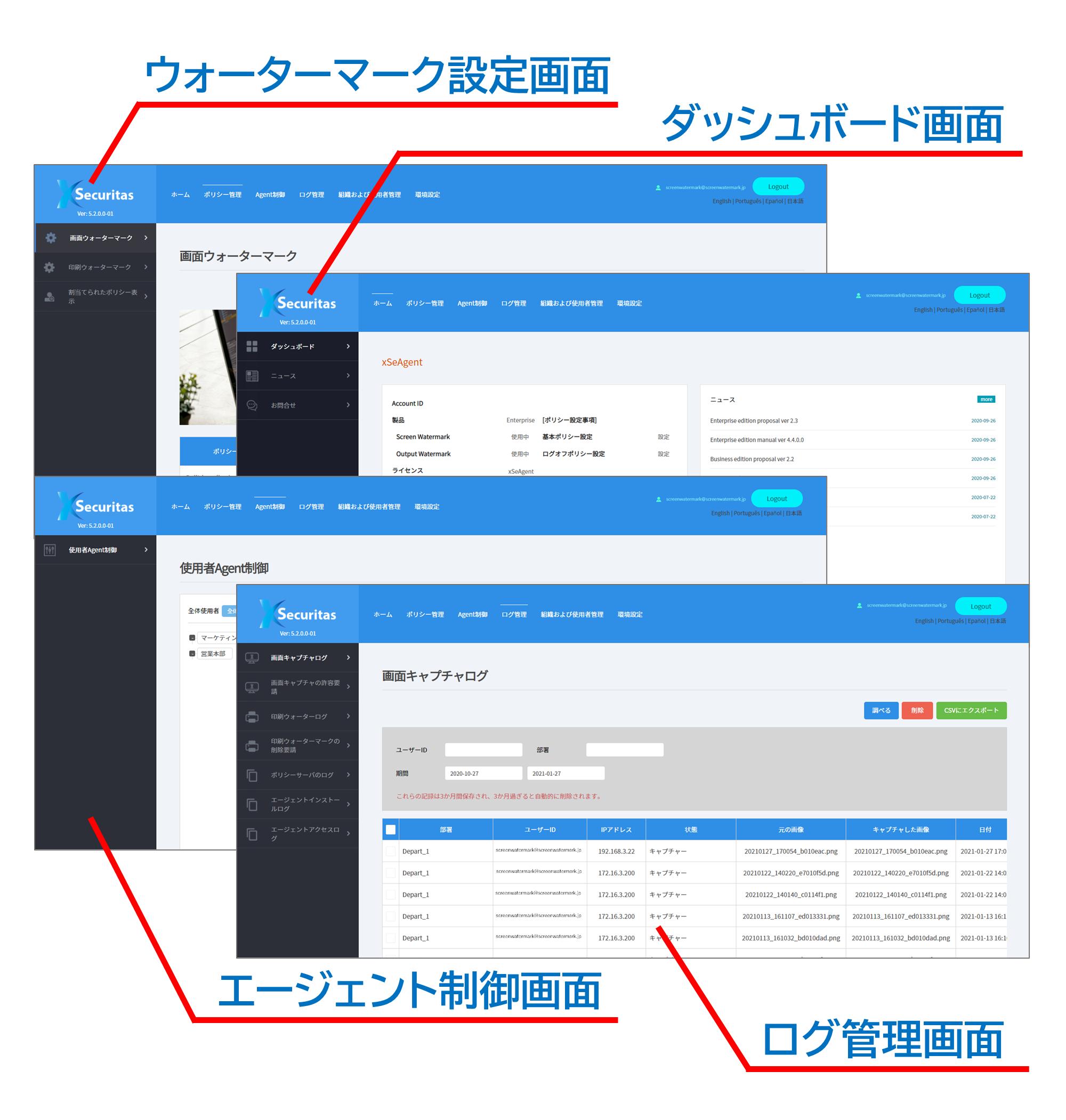 スクリーンウォーターマークの管理用Webコンソール画面
