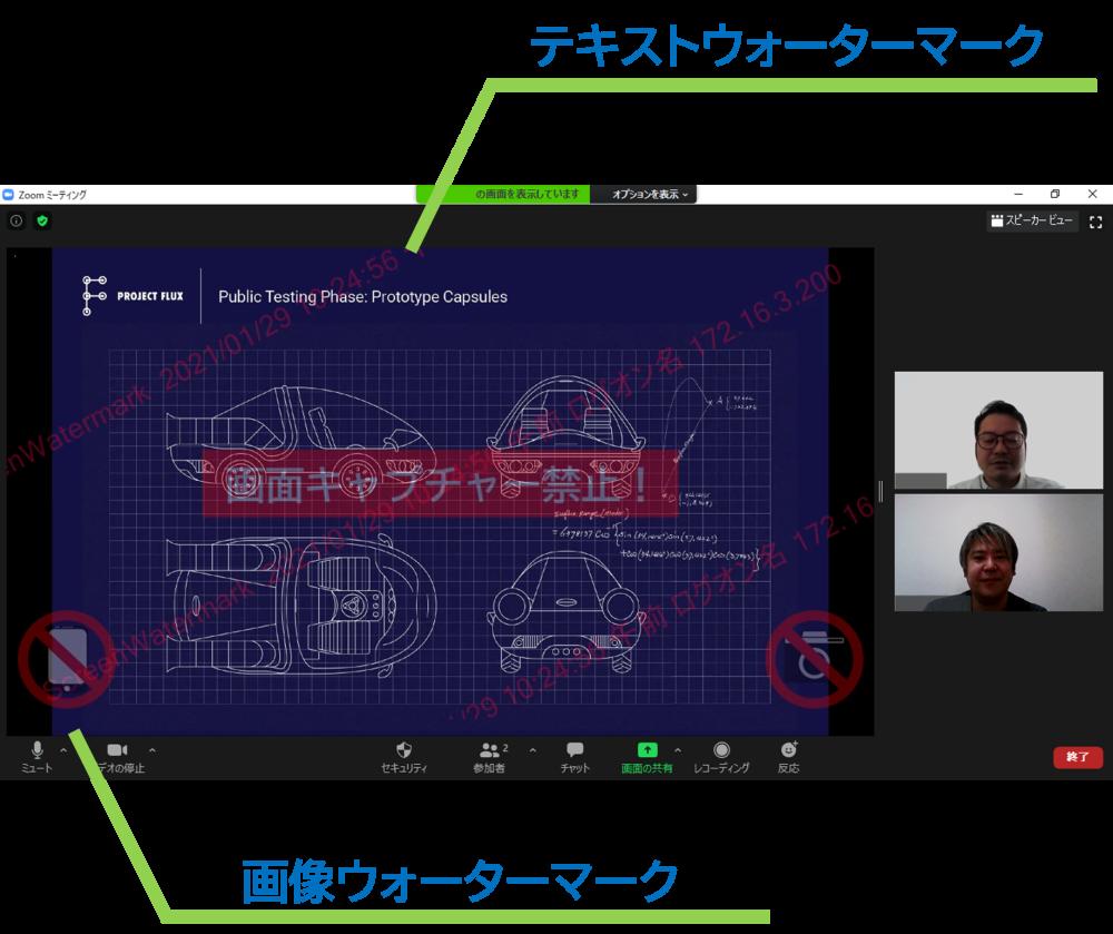 スクリーンウォーターマークはZoomやTeamsなどのビデオミーティングでも共有画面にウォーターマーク(透かし)を表示して不正な画面キャプチャを防止