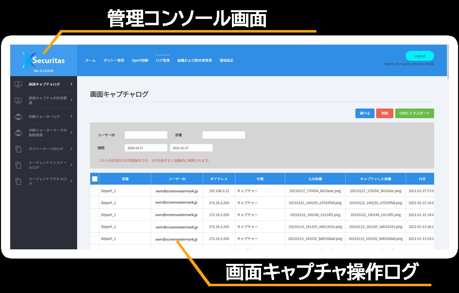 スクリーンウォーターマークはスクリーンショットの操作履歴をログ保存して不正な画面キャプチャを防止