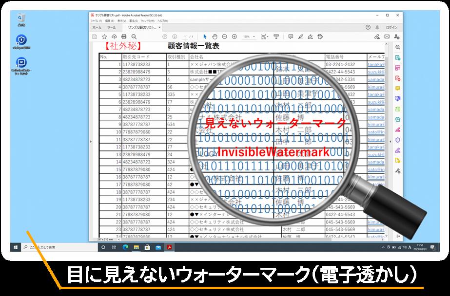 スクリーンウォーターマークは画面キャプチャ画像に見えない電子透かしを暗号化して埋め込むことで不正な画面キャプチャの証跡を残せる