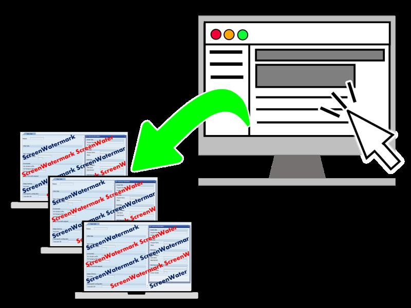 スクリーンウォーターマークの管理・設定は、Webブラウザから簡単に設定可能。設定したポリシーは自動的にエージェントPCに反映されます